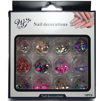 Confeti Metalico Nail Decorations 12pz
